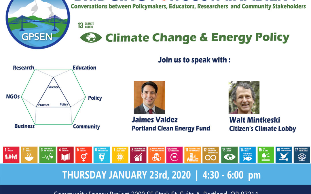 "Collaborative Efforts to Battle Climate Change: A Conversation Hosted by GPSEN's ""Bridging for Sustainability"""