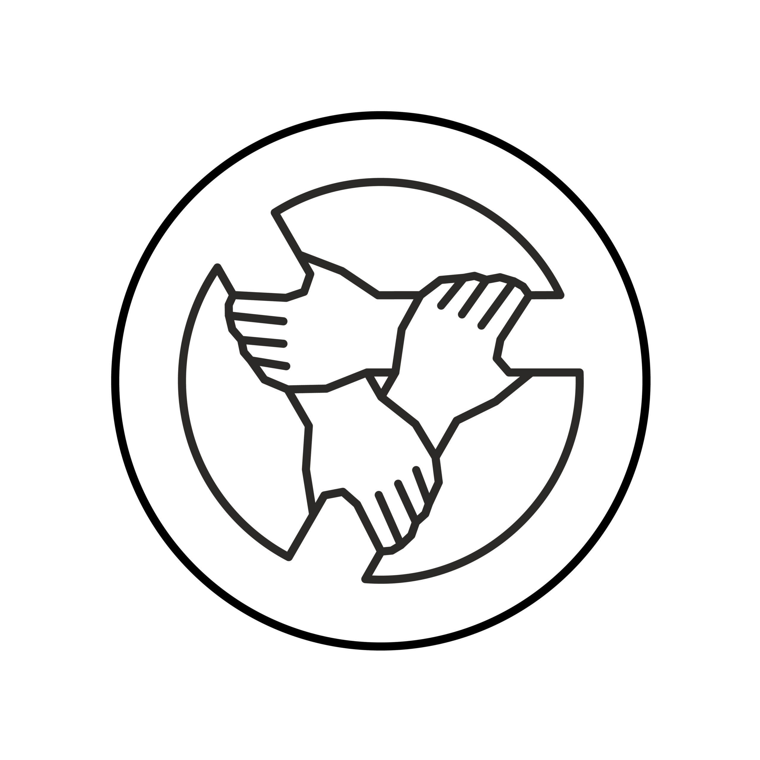 Three hands together support each other outline style logo. Teamwork, union or cooperation concept sign. 3 people hands holding one by one in a circle. Support symbol. Adjustable stroke width.